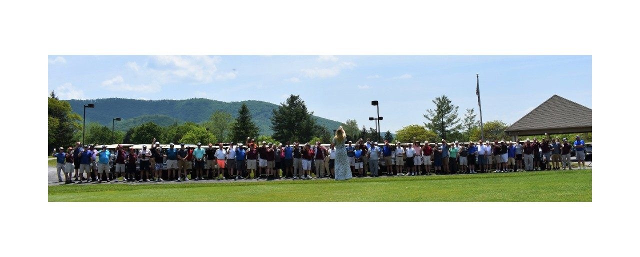 2018 Hokie Cow Classic  -  Milk ToastA new tradition for the Hokie Cow Classic! The Hokie Cow Classic Scholar giving the milk toast to start the tournament. Eighty-five people toasting at the golf course.