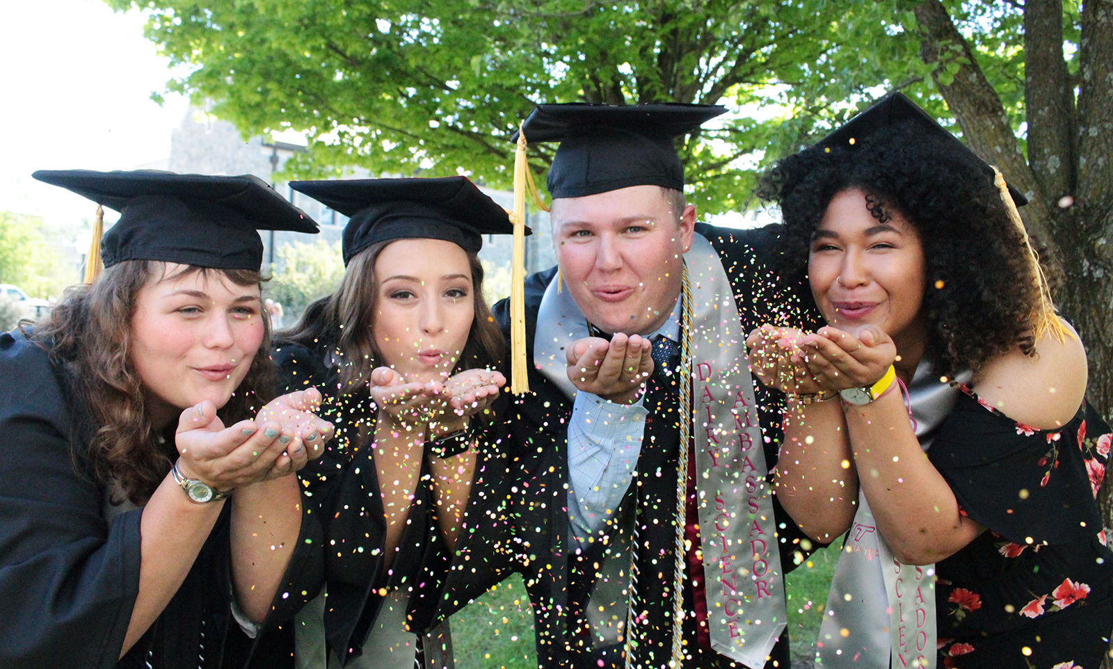 Four 2019 graduates in caps and gowns, blowing glitter from their hands.