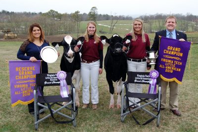 L-R: Katie Albaugh, Judge; Shelby Iager, Reserve Grand Champion; Kayla Umbel, Grand Champion; and Eric Paulson, Executive Secretary and Treasurer, Virginia State Dairymen's Association