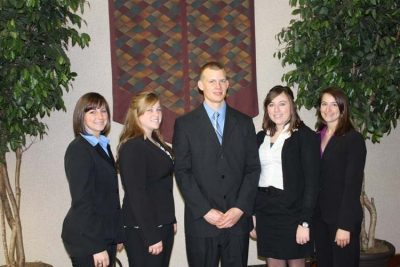 2011 VT Dairy Challenge Team  L-R: Brittany Willing, Holly Weeks, Brandon Moyer, Laurel Moore, and Rachel Smith