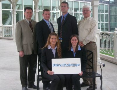 2012 VT Dairy Challenge Team: 1st row left to right -   Lindsay Hetrick - Pennsylvania, Lauryn Singer - MD; 2nd row left to right - Dr. Mark Hanigan - coach;  Karl Paulson - VA ; Chris Potts, VA; Dr. Bob James, coach