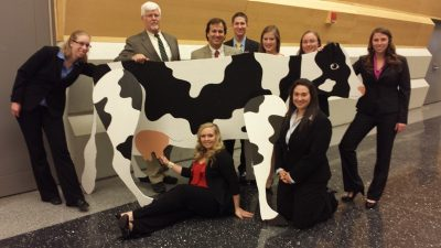 2014 Virginia Tech Dairy Challenge delegation posing with a faux Holstein.