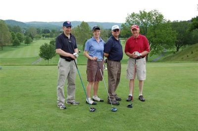 Virginia Tech - Maroon. Pictured left to right: Mike Barnes, Jr., Katharine Knowlton, Frank Gwazdauskas, David Ford.