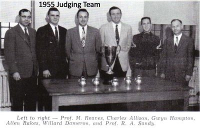 1955 Judging Team--Left to right--Prof. P.M. Reaves, Charles Allison, Gwyn Hampton, Allen Rakes, Willard Dameron, and Prof. R.A. Sandy.