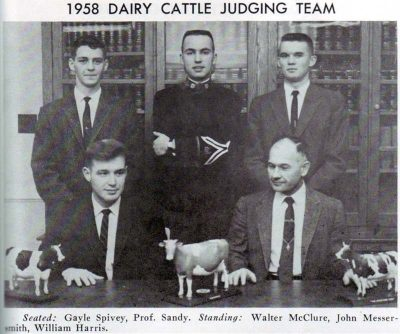 1958 Judging Team-Seated: Gayle Spivey, Prof. Sandy. Standing: Walter McClure, John Messersmith, William Harris.