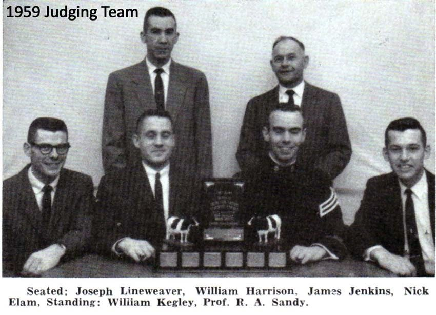 Seated: Joseph Lineweaver, William Harrison, James Jenkins, Nick Elam. Standing: Willliam Kegley, Prof. R.A. Sandy.