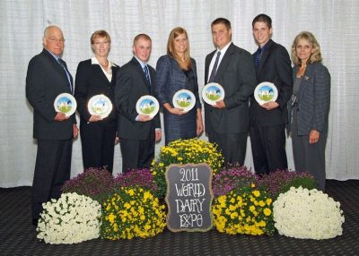 2011 Judging Team--World Dairy Expo--Team A--pictured L to R: Dr. Michael Barnes, Dr. Katharine Knowlton, Cody Pearson, Carissa Doody, Austin Schwartzbeck and Jason Zimmerman.
