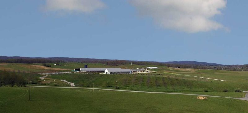 Aerial view of the Kentland Dairy Farm.