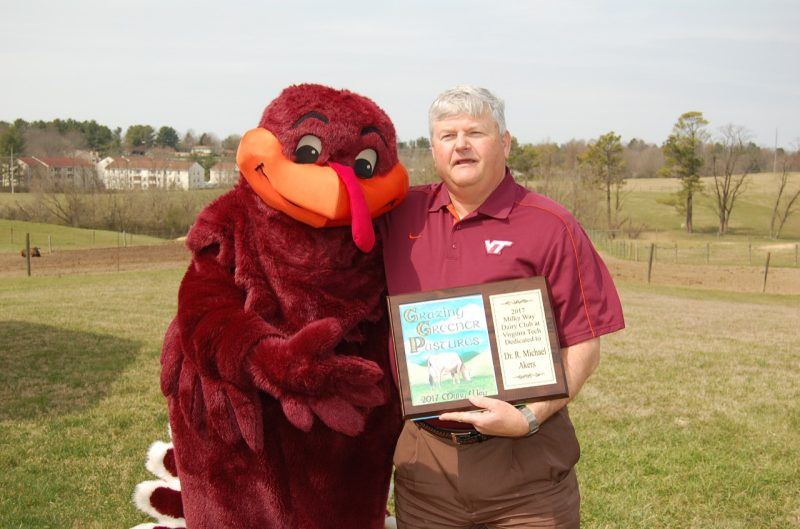 Dr. Mike Akers with the Hokie Bird