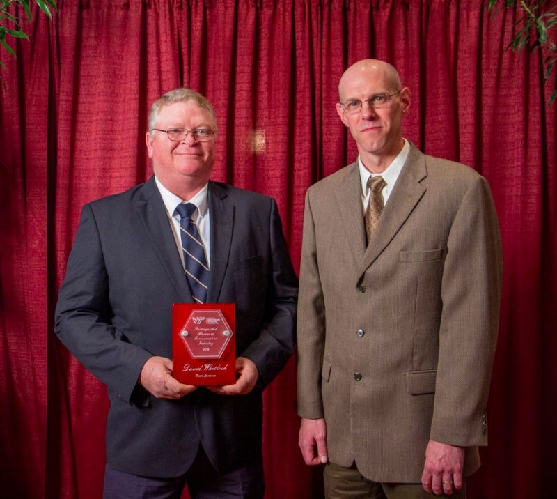 David Whitlock, the Department of Dairy Science's Distinguished Alumnus in Government or Industry, pictured with Dr. Ben Corl, Interim Department Head.