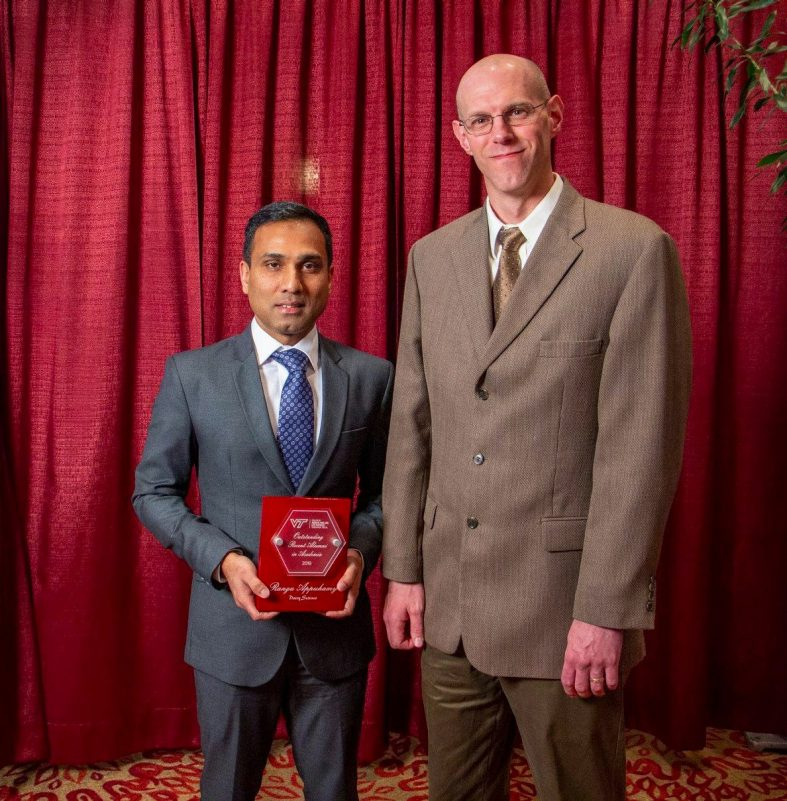 Receipent of the Dairy Science's Outstanding Recent Alumnus in Academia Award, Dr. Ranga Appuhamy, pictured with Dr. Ben Corl, Interim Department Head.