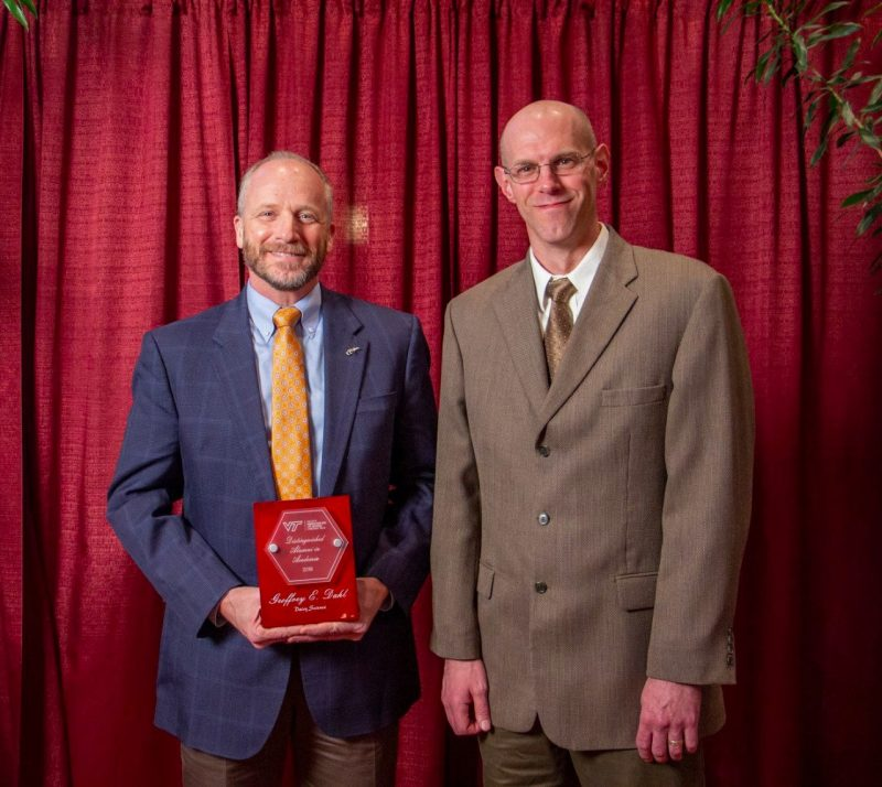 Geoffrey Dahl, the Department of Dairy Science's Distinguished Alumnus in Academia, pictured with Dr. Ben Corl, Interim Department Head.