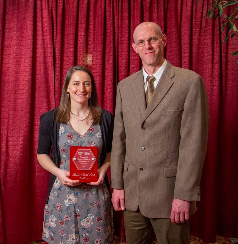 Rachel Fink, recipient of the Dairy Science's 2019 Outstanding Recent Alumna in Government or Industry, pictured with Dr. Ben Corl, Interim Department Head.